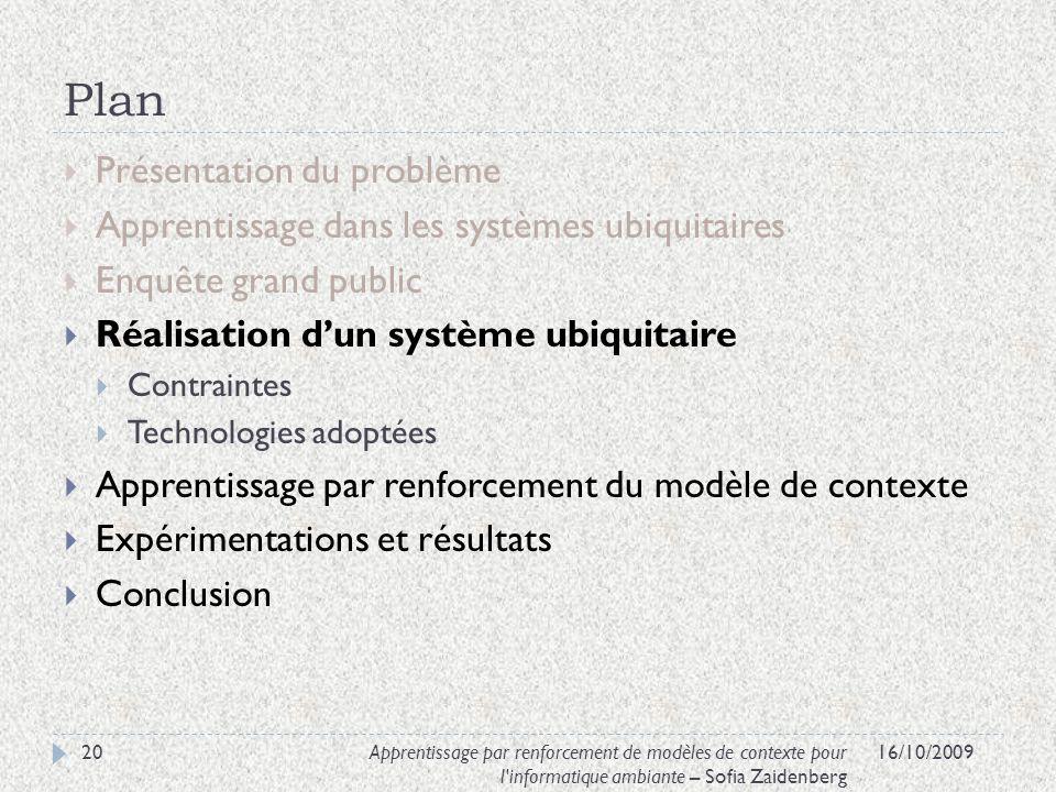 Plan Présentation du problème Apprentissage dans les systèmes ubiquitaires Enquête grand public Réalisation dun système ubiquitaire Contraintes Techno