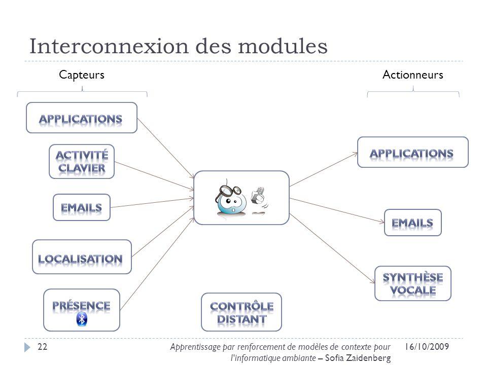 Interconnexion des modules 16/10/200922Apprentissage par renforcement de modèles de contexte pour l'informatique ambiante – Sofia Zaidenberg CapteursA
