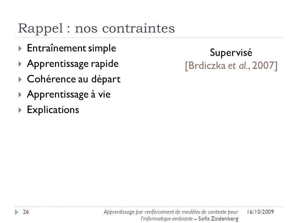 Rappel : nos contraintes Entraînement simple Apprentissage rapide Cohérence au départ Apprentissage à vie Explications 16/10/200926Apprentissage par r