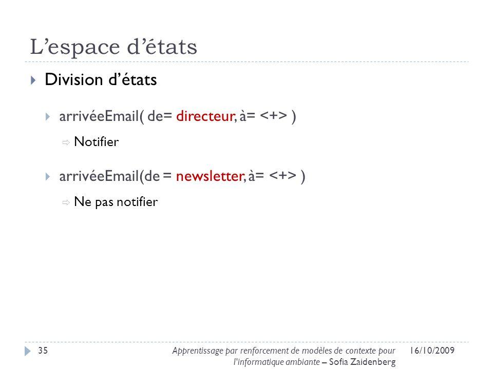Lespace détats Division détats arrivéeEmail( de= directeur, à= ) Notifier arrivéeEmail(de = newsletter, à= ) Ne pas notifier 16/10/200935Apprentissage