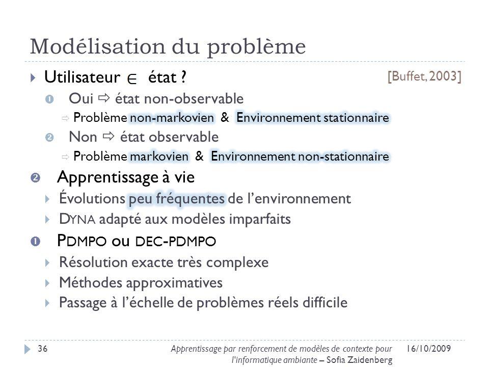 Modélisation du problème 16/10/200936Apprentissage par renforcement de modèles de contexte pour l'informatique ambiante – Sofia Zaidenberg [Buffet, 20