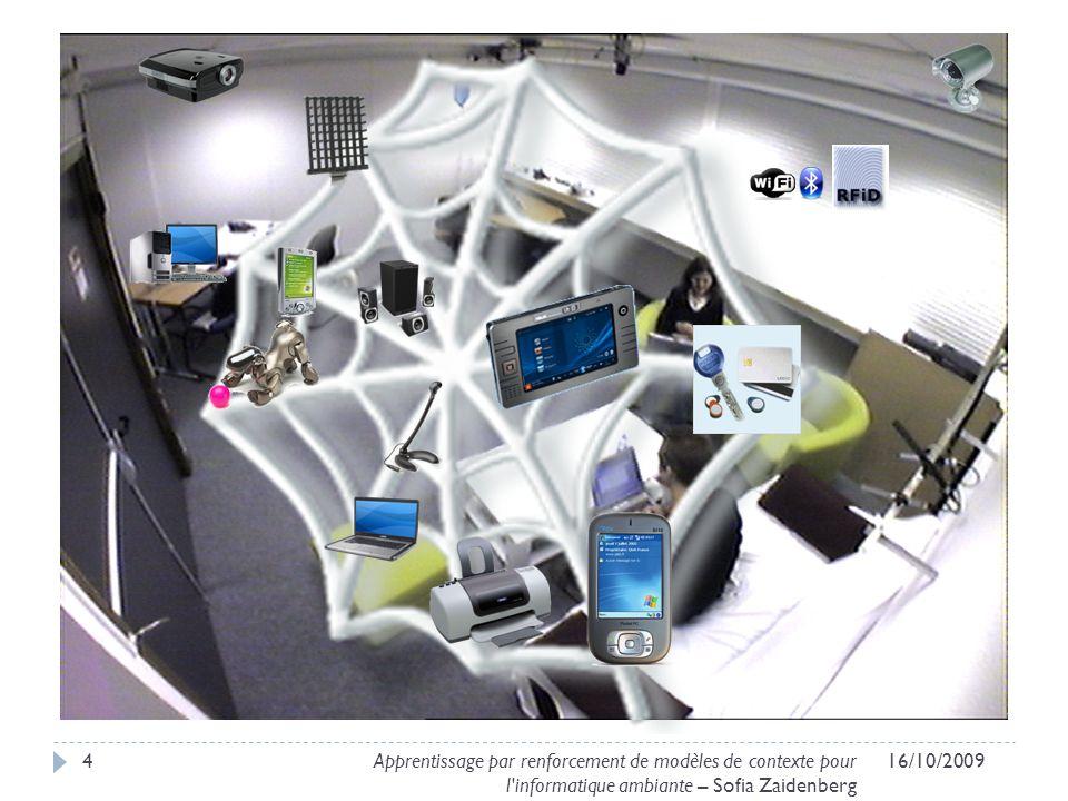 416/10/2009Apprentissage par renforcement de modèles de contexte pour l'informatique ambiante – Sofia Zaidenberg
