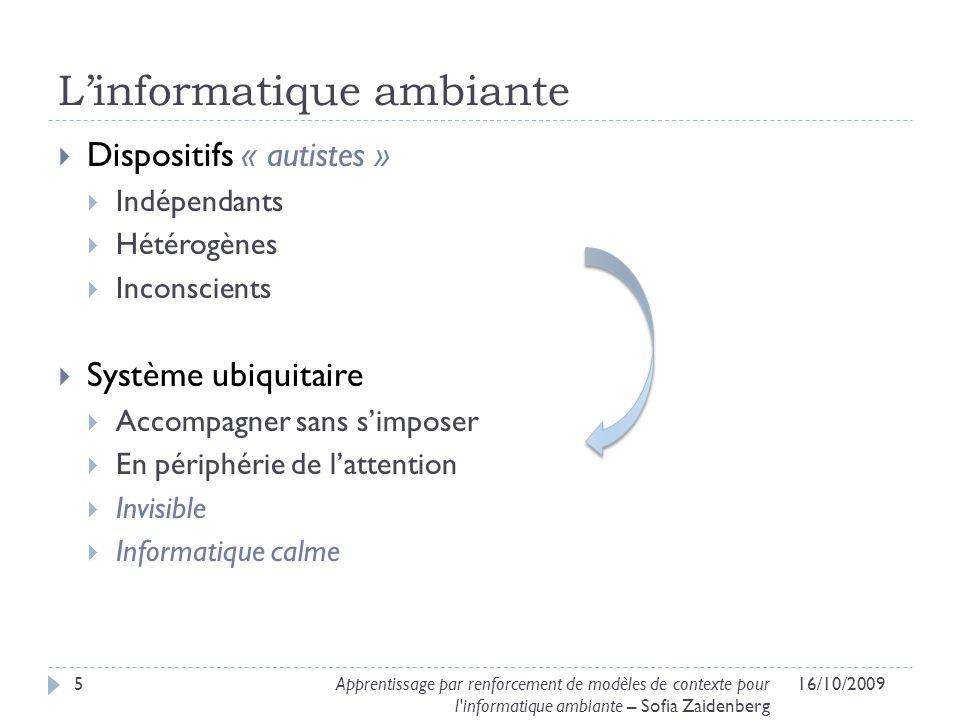 Modélisation du problème 16/10/200936Apprentissage par renforcement de modèles de contexte pour l informatique ambiante – Sofia Zaidenberg [Buffet, 2003]