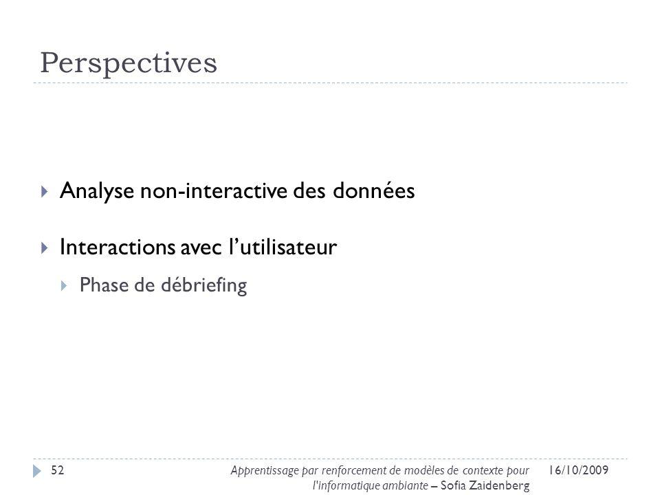 Perspectives Analyse non-interactive des données Interactions avec lutilisateur Phase de débriefing 16/10/200952Apprentissage par renforcement de modè