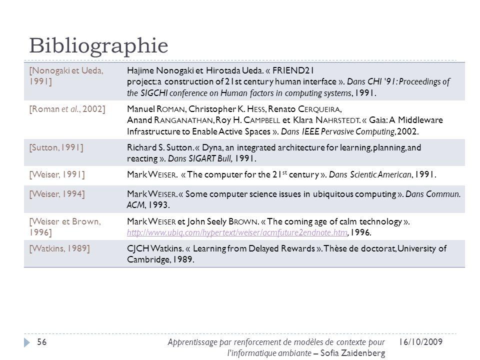 Bibliographie [Nonogaki et Ueda, 1991] Hajime Nonogaki et Hirotada Ueda. « FRIEND21 project: a construction of 21st century human interface ». Dans CH