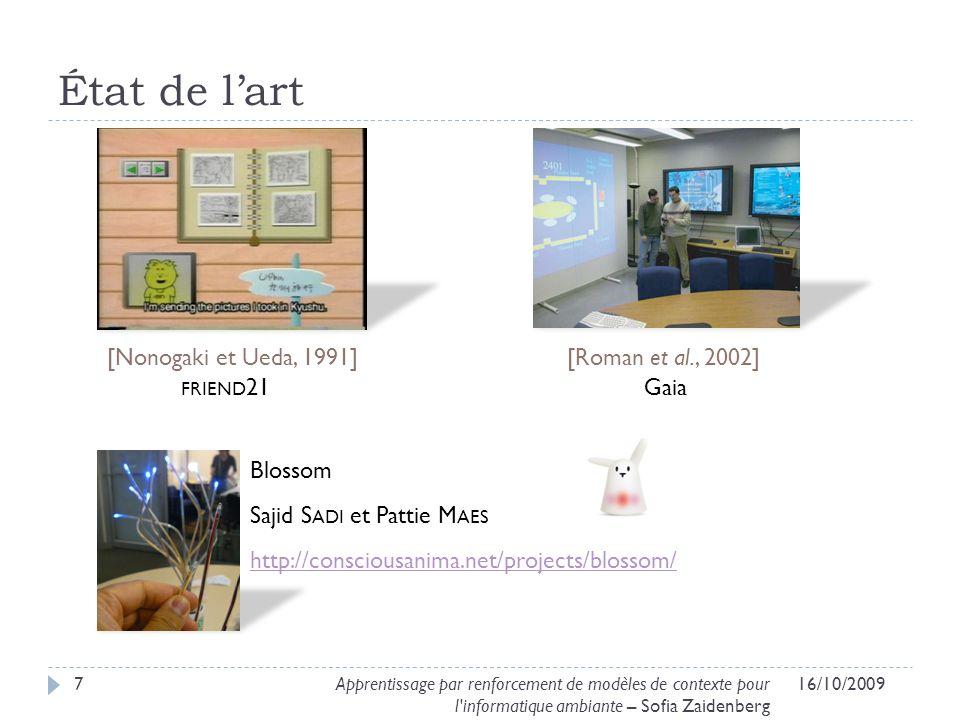 État de lart 16/10/20097Apprentissage par renforcement de modèles de contexte pour l'informatique ambiante – Sofia Zaidenberg [Roman et al., 2002][Non