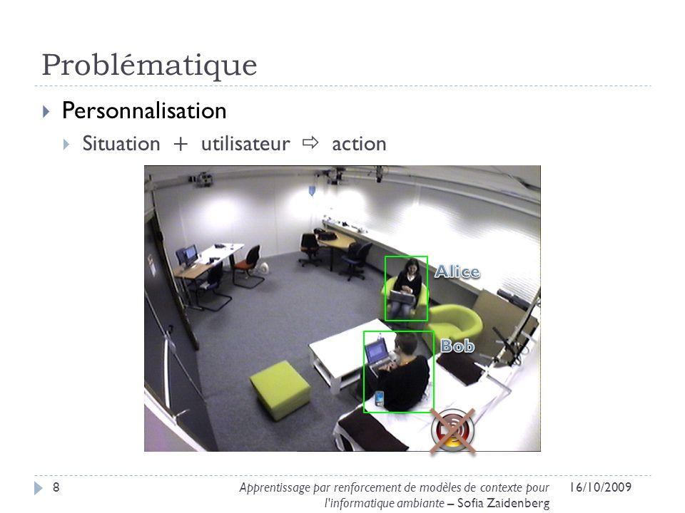 Problématique Personnalisation Situation + utilisateur action 16/10/20098Apprentissage par renforcement de modèles de contexte pour l'informatique amb