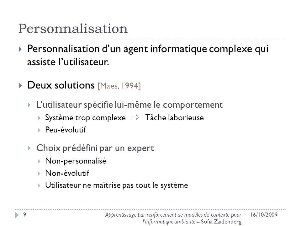 Solution proposée 16/10/200910Apprentissage par renforcement de modèles de contexte pour l informatique ambiante – Sofia Zaidenberg