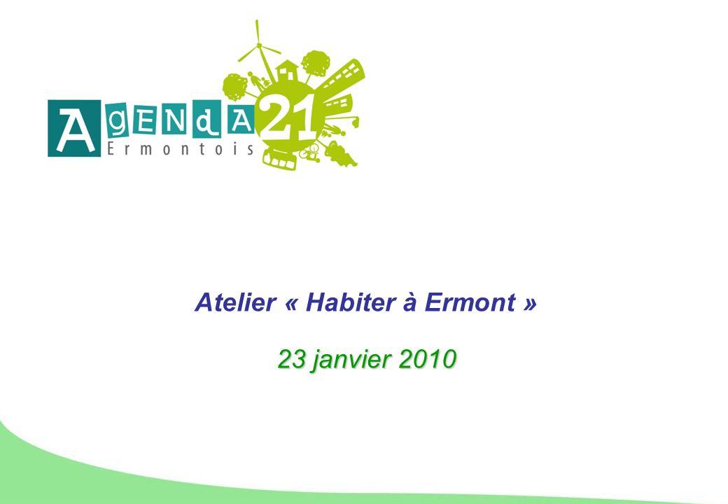 Objectifs de cet atelier participatif 3 objectifs : Enrichir la réflexion menée par la Ville dErmont dans le cadre de lélaboration de son Agenda 21 Apporter une « expertise du quotidien » sur les problématiques locales de développement durable Etre force de propositions dactions concrètes pour la suite de la démarche