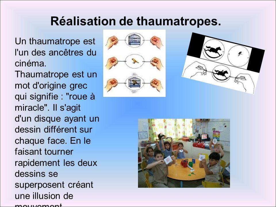 Réalisation de thaumatropes.Un thaumatrope est l un des ancêtres du cinéma.
