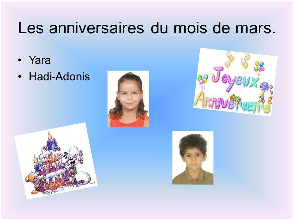Les anniversaires du mois de mars. Yara Hadi-Adonis