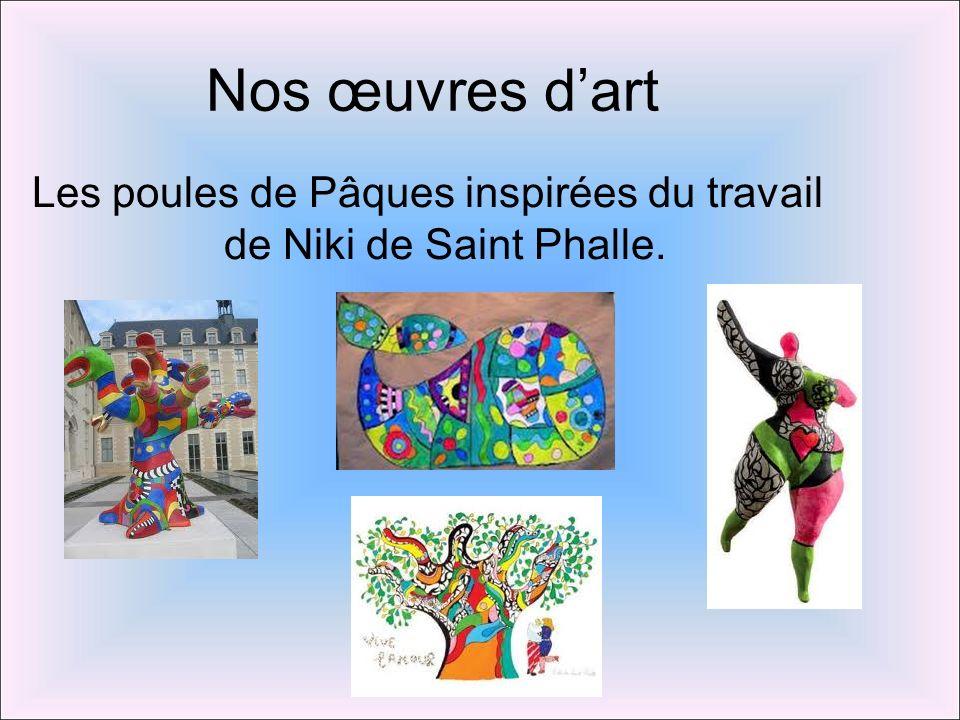 Nos œuvres dart Les poules de Pâques inspirées du travail de Niki de Saint Phalle.