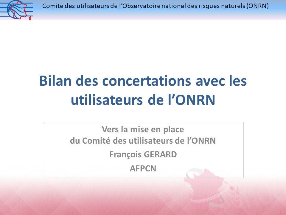 Comité des utilisateurs de lObservatoire national des risques naturels (ONRN) Bilan des concertations avec les utilisateurs de lONRN Vers la mise en p