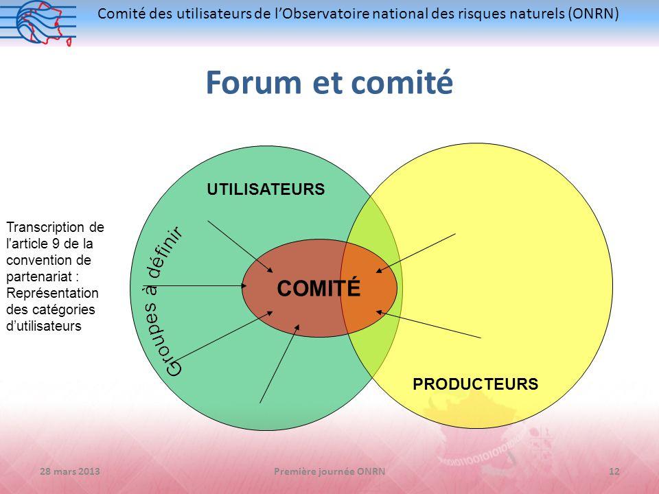 Comité des utilisateurs de lObservatoire national des risques naturels (ONRN) UTILISATEURS PRODUCTEURS COMITÉ Transcription de l'article 9 de la conve