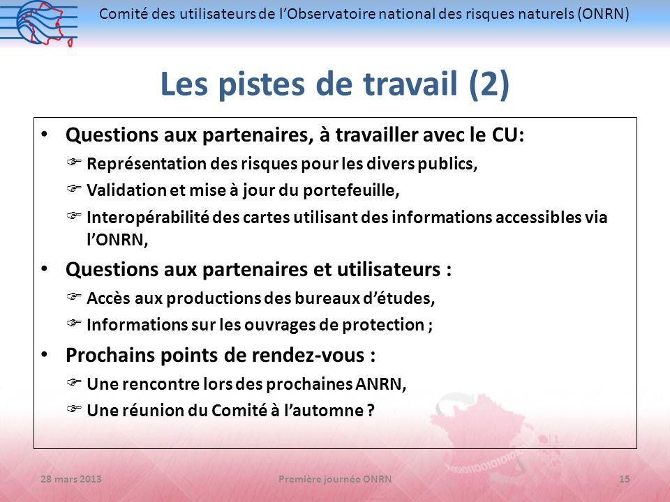 Comité des utilisateurs de lObservatoire national des risques naturels (ONRN) Les pistes de travail (2) Questions aux partenaires, à travailler avec l