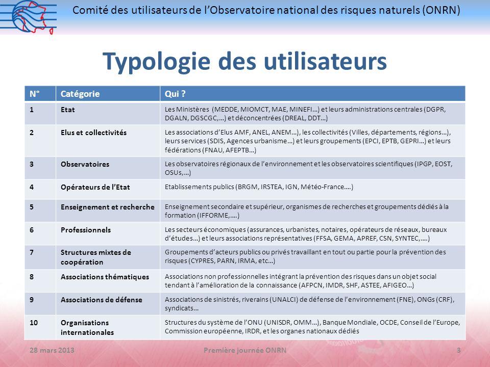 Comité des utilisateurs de lObservatoire national des risques naturels (ONRN) Typologie des utilisateurs 28 mars 2013Première journée ONRN3 N°Catégori