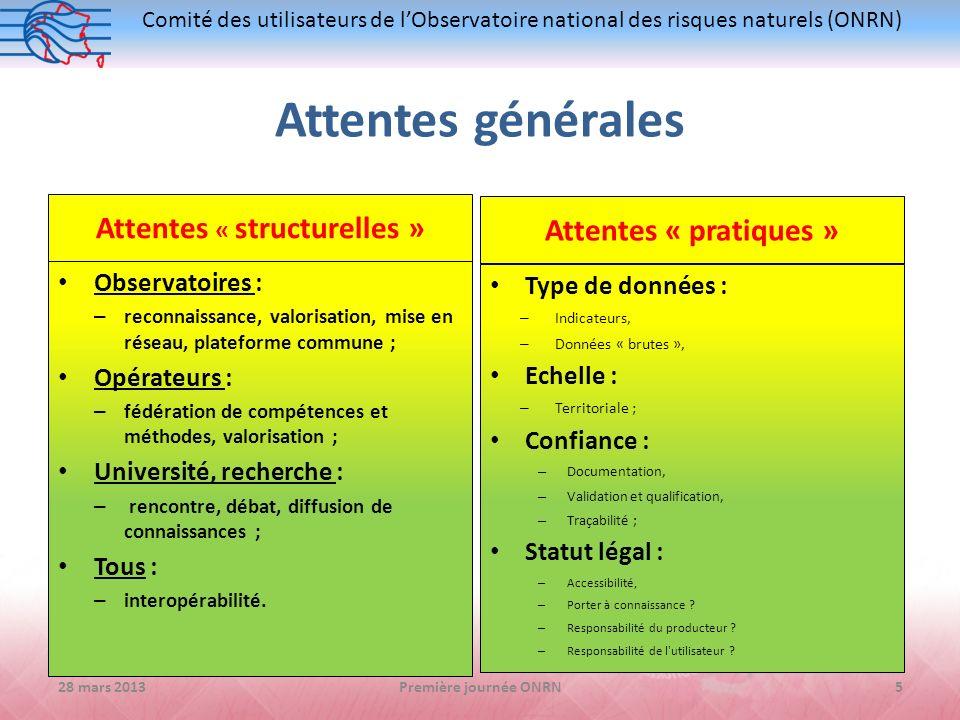 Comité des utilisateurs de lObservatoire national des risques naturels (ONRN) Attentes générales Attentes « structurelles » Observatoires : – reconnai