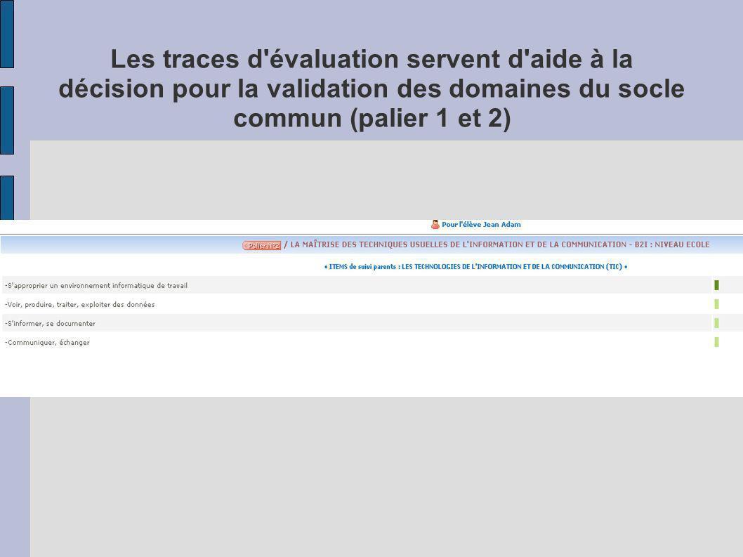 Les traces d'évaluation servent d'aide à la décision pour la validation des domaines du socle commun (palier 1 et 2)