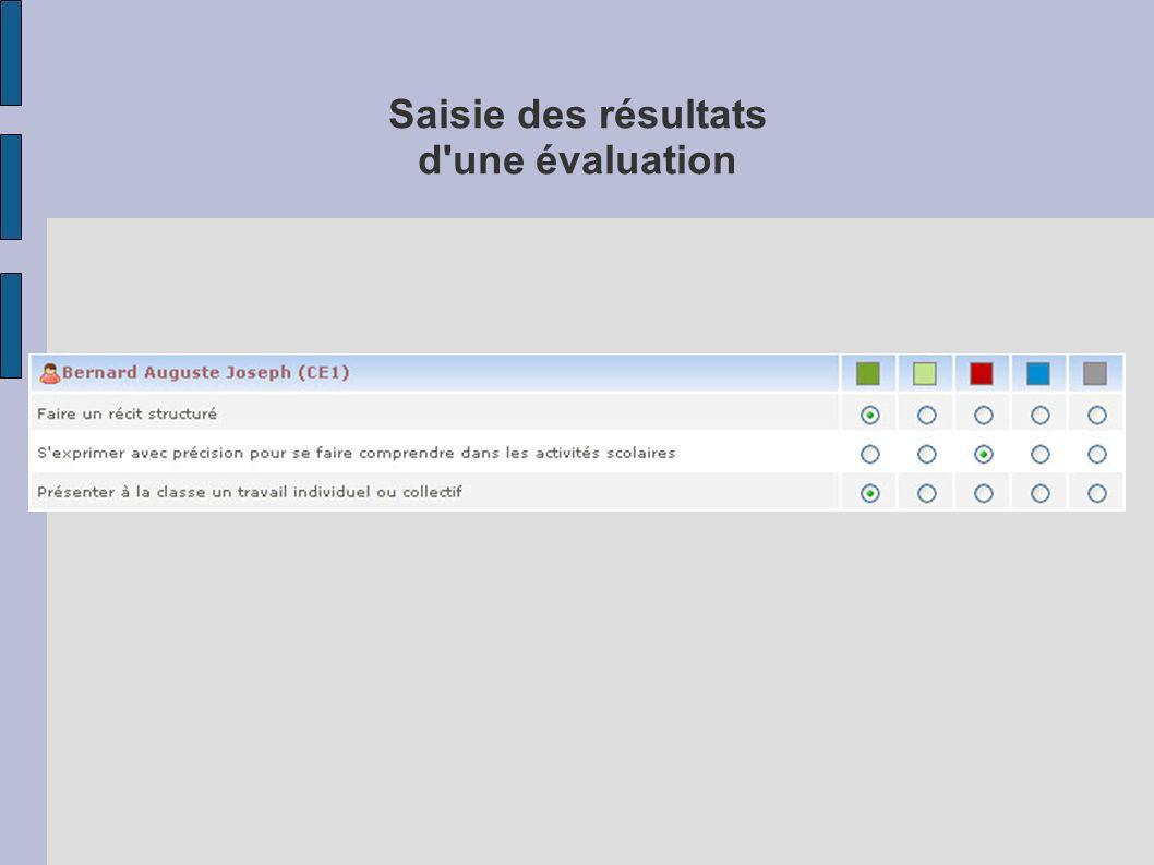 Saisie des résultats d'une évaluation