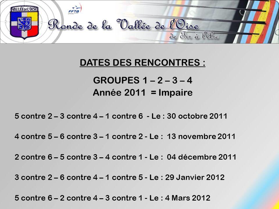 DATES DES RENCONTRES : GROUPES 1 – 2 – 3 – 4 Année 2011 = Impaire 5 contre 2 – 3 contre 4 – 1 contre 6 - Le : 30 octobre 2011 4 contre 5 – 6 contre 3