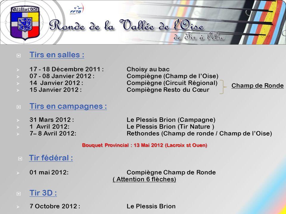 Tirs en salles : 17 - 18 Décembre 2011 :Choisy au bac 07 - 08 Janvier 2012 :Compiègne (Champ de lOise) 14 Janvier 2012 :Compiègne (Circuit Régional) 1
