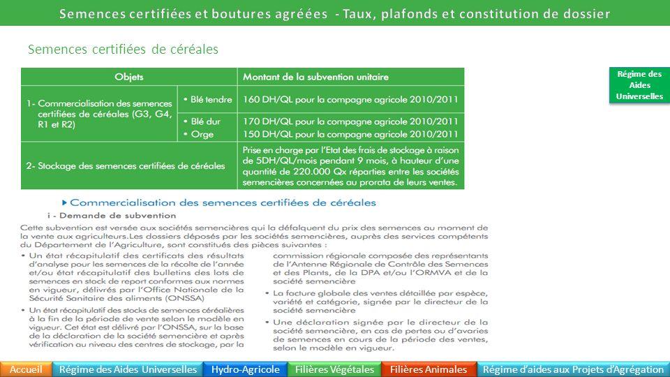 Semences certifiées de céréales Accueil Régime daides aux Projets dAgrégation Régime des Aides Universelles Hydro-Agricole Filières Végétales Filières