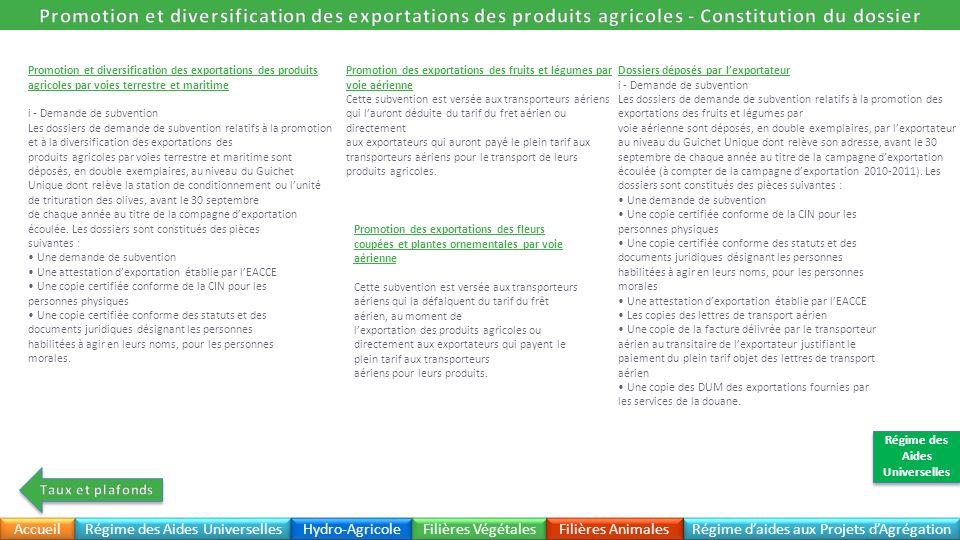 Promotion et diversification des exportations des produits agricoles par voies terrestre et maritime i - Demande de subvention Les dossiers de demande
