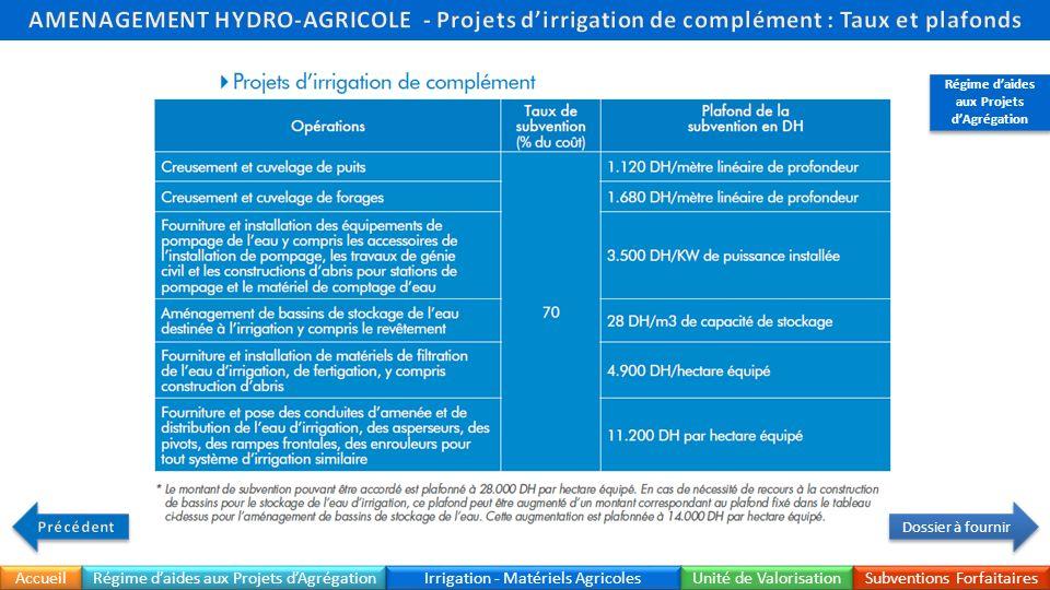 Accueil Irrigation - Matériels Agricoles Unité de Valorisation Subventions Forfaitaires Régime daides aux Projets dAgrégation Dossier à fournir Régime