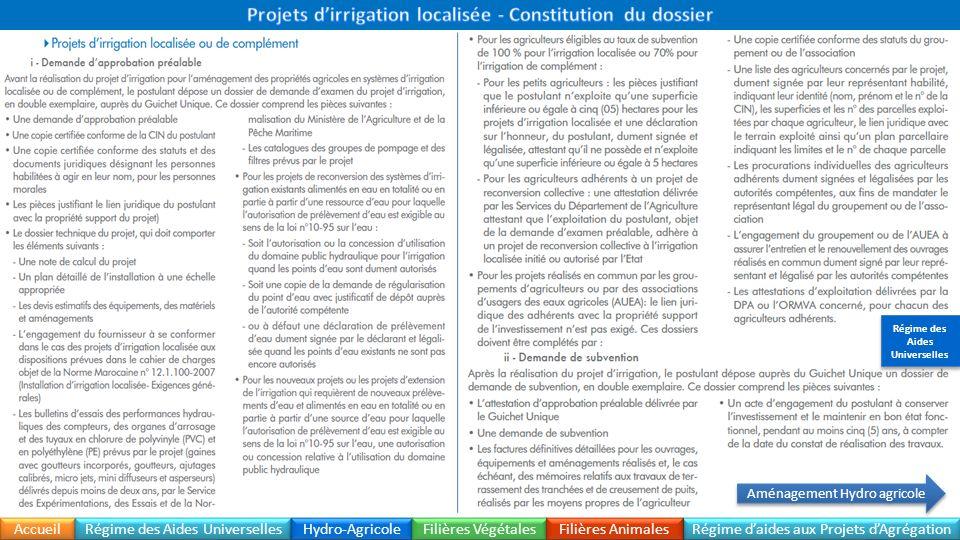 Accueil Régime daides aux Projets dAgrégation Dossier à fournir Régime des Aides Universelles Hydro-Agricole Filières Végétales Filières Animales