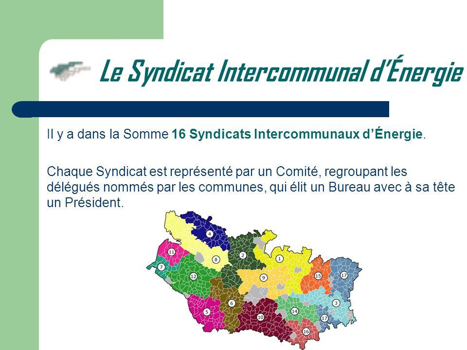 Le Syndicat Intercommunal dÉnergie Il y a dans la Somme 16 Syndicats Intercommunaux dÉnergie. Chaque Syndicat est représenté par un Comité, regroupant