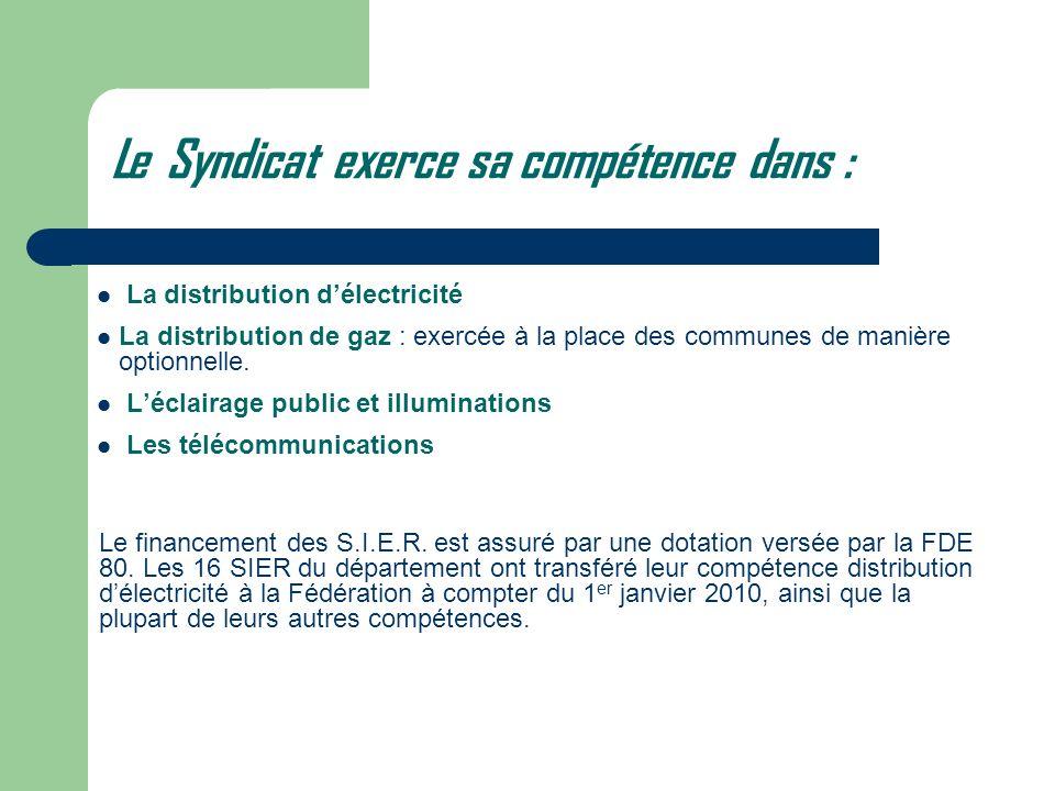 Le Syndicat exerce sa compétence dans : La distribution délectricité La distribution de gaz : exercée à la place des communes de manière optionnelle.