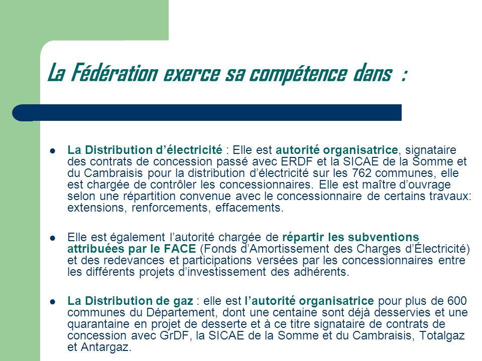 La Fédération exerce sa compétence dans : La Distribution délectricité : Elle est autorité organisatrice, signataire des contrats de concession passé