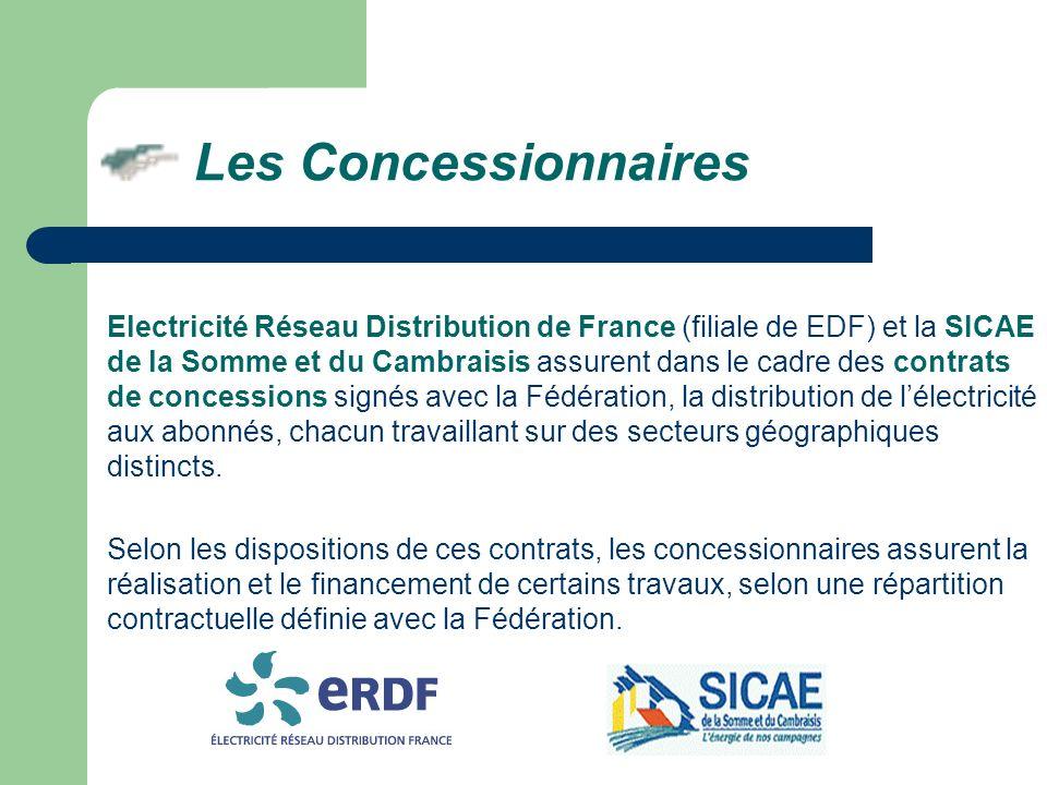 Electricité Réseau Distribution de France (filiale de EDF) et la SICAE de la Somme et du Cambraisis assurent dans le cadre des contrats de concessions