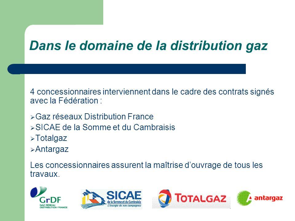 Dans le domaine de la distribution gaz 4 concessionnaires interviennent dans le cadre des contrats signés avec la Fédération : Gaz réseaux Distributio