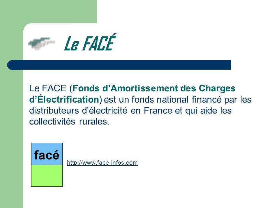Le FACÉ Le FACE (Fonds dAmortissement des Charges dÉlectrification) est un fonds national financé par les distributeurs délectricité en France et qui