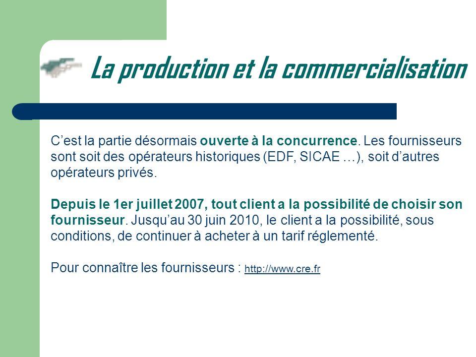 Cest la partie désormais ouverte à la concurrence. Les fournisseurs sont soit des opérateurs historiques (EDF, SICAE …), soit dautres opérateurs privé