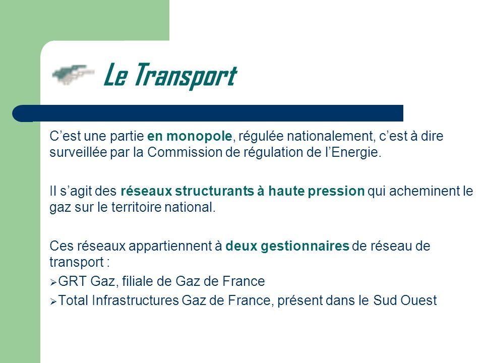 Le Transport Cest une partie en monopole, régulée nationalement, cest à dire surveillée par la Commission de régulation de lEnergie. Il sagit des rése