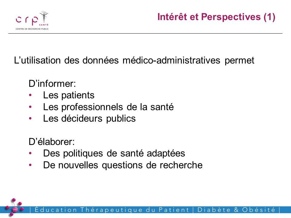 www.crp-sante.lu Intérêt et Perspectives (1) Lutilisation des données médico-administratives permet Dinformer: Les patients Les professionnels de la s