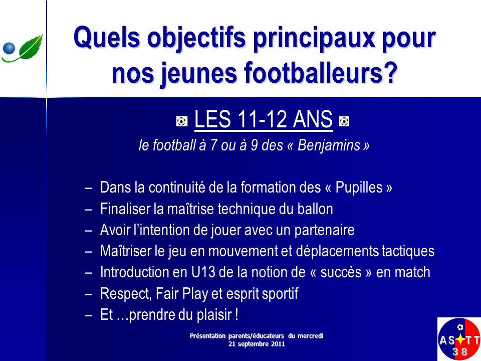 Quels objectifs principaux pour nos jeunes footballeurs? LES 11-12 ANS le football à 7 ou à 9 des « Benjamins » – –Dans la continuité de la formation