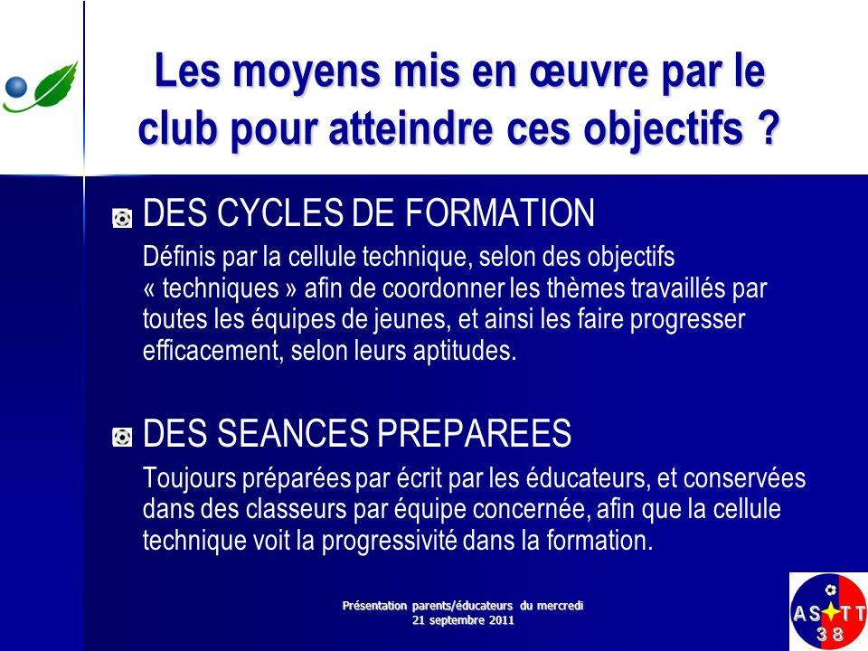 Les moyens mis en œuvre par le club pour atteindre ces objectifs ? DES CYCLES DE FORMATION Définis par la cellule technique, selon des objectifs « tec