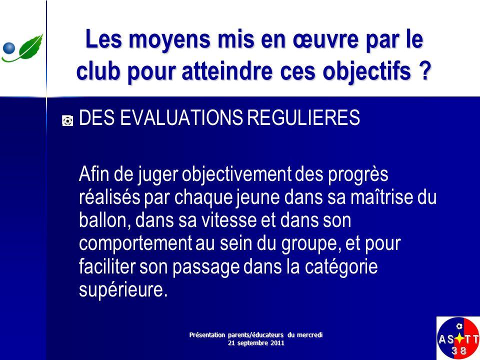 Les moyens mis en œuvre par le club pour atteindre ces objectifs ? DES EVALUATIONS REGULIERES Afin de juger objectivement des progrès réalisés par cha