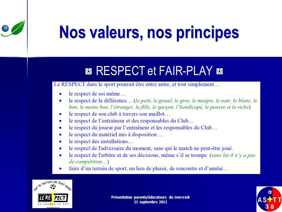 Nos valeurs, nos principes RESPECT et FAIR-PLAY Présentation parents/éducateurs du mercredi 21 septembre 2011