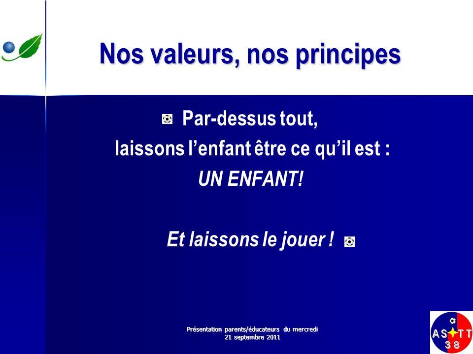 Nos valeurs, nos principes Par-dessus tout, laissons lenfant être ce quil est : UN ENFANT! Et laissons le jouer ! Présentation parents/éducateurs du m