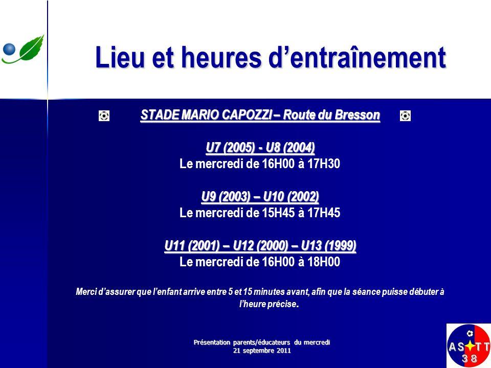 Lieu et heures dentraînement STADE MARIO CAPOZZI – Route du Bresson U7 (2005) - U8 (2004) Le mercredi de 16H00 à 17H30 U9 (2003) – U10 (2002) Le mercr