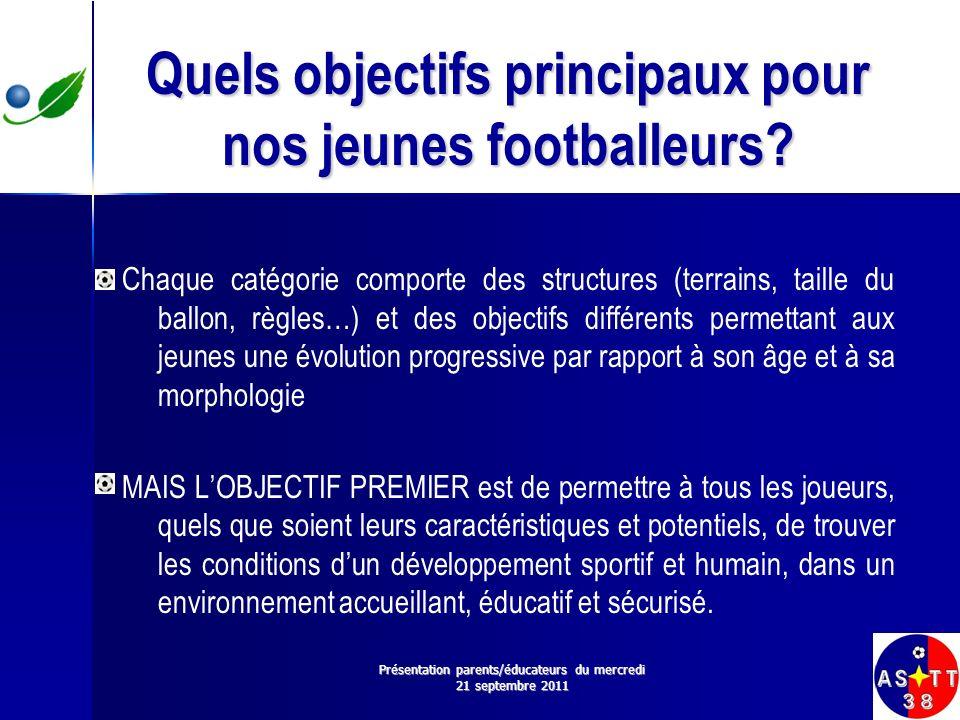 Quels objectifs principaux pour nos jeunes footballeurs? Chaque catégorie comporte des structures (terrains, taille du ballon, règles…) et des objecti