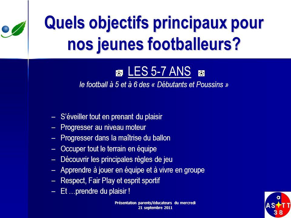 Quels objectifs principaux pour nos jeunes footballeurs? LES 5-7 ANS le football à 5 et à 6 des « Débutants et Poussins » – –Séveiller tout en prenant