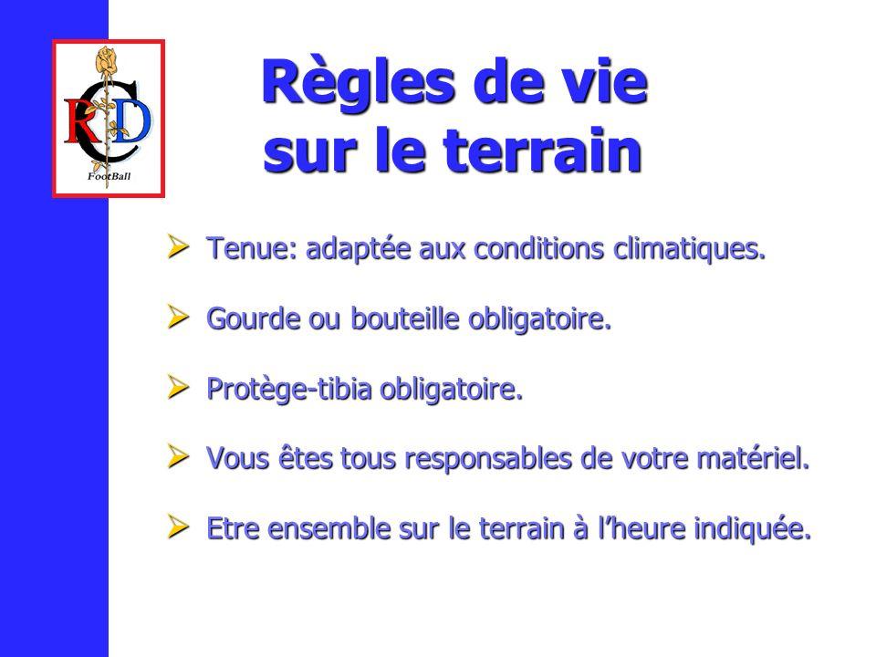 Règles de vie sur le terrain Tenue: adaptée aux conditions climatiques.