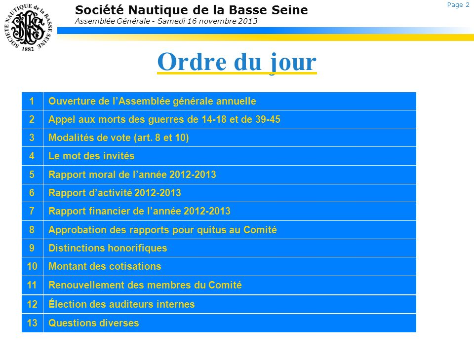 Société Nautique de la Basse Seine Assemblée Générale - Samedi 16 novembre 2013 5.Rapport moral Le Mot du PrésidentPascal Péron Retour au sommaire Page 3