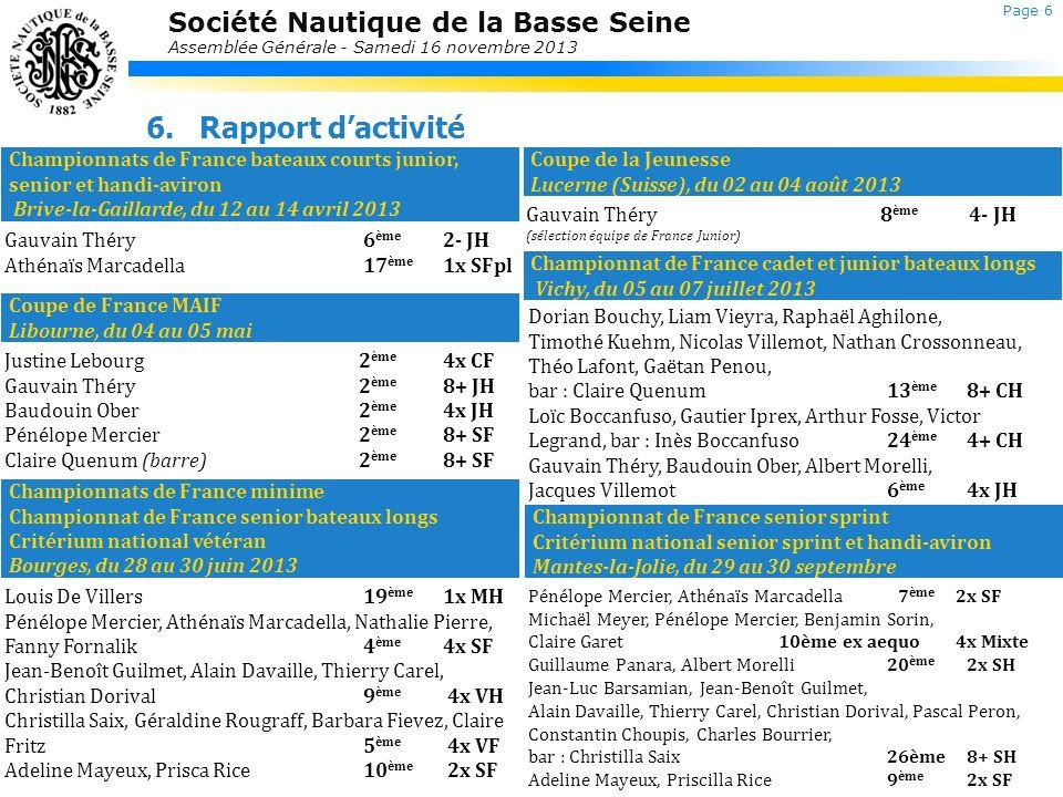 Société Nautique de la Basse Seine Assemblée Générale - Samedi 16 novembre 2013 6.Rapport dactivité Section Loisirs Laurent Jolly Une année difficile à cause de la crue Séances de Tank à ramer par groupes homogènes.