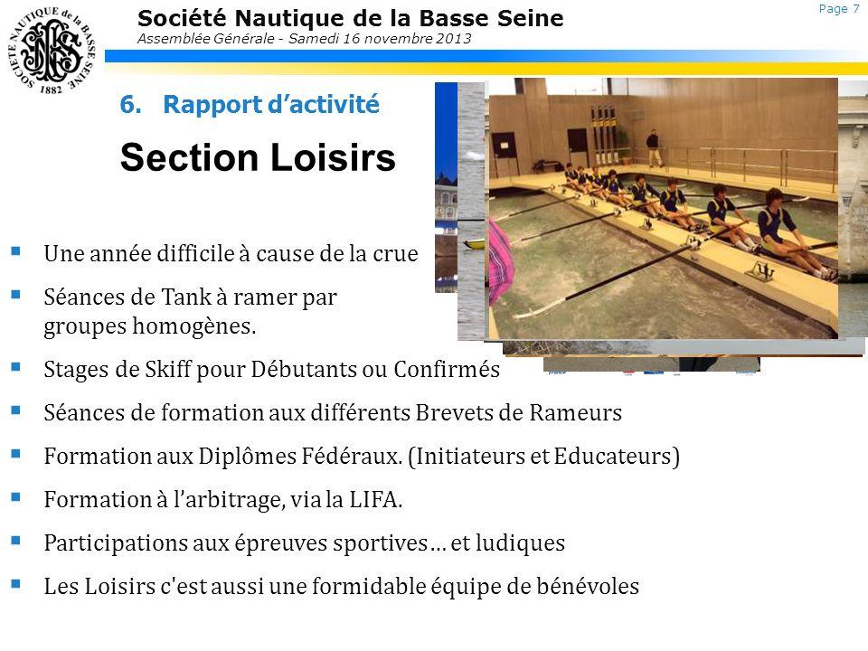 Société Nautique de la Basse Seine Assemblée Générale - Samedi 16 novembre 2013 6.Rapport dactivité Section Loisirs Laurent Jolly Une année difficile